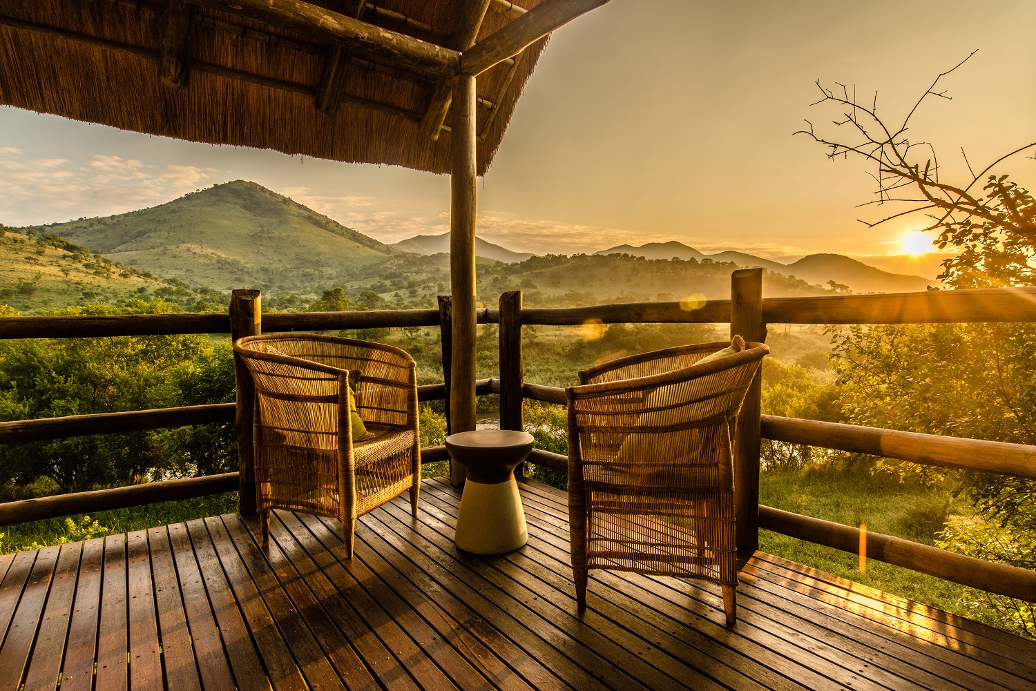 Enjoy leisure time watching the sun set over the bush